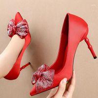 Scarpe vestito 2021 taglia 34-40 Donne 10 cm tacchi alti estremi punte puntate Eden rosso seta bling butterfly nodi pompe party wedding shoes11