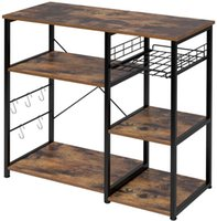 Kitchen Baker's Rack, mesa de 3 níveis e 4 camadas para Spice Rack Industrial Ficlowave Stand Armazenamento Prateleira Multipurpose Organizador Workstation com 5 ganchos