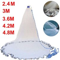 Fishing Accessories 2.4M 4.8M Net With Sinker Network Hand Throw Small Mesh Cast Catch Fish Gill Tool USA Style