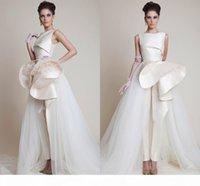 elegant Zuhair Murad Dresses Formal Evening Gowns Party Evening Crew Peplum Ruffles Tulle Zipper Back Pageant Prom Dress Sleeveless