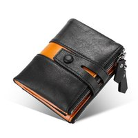 Wallets Top Genuine Leather For Men Patchwork Designer Wallet Short First Layer Purse Business Double Zipper Bolsa