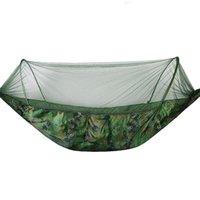 ABZB-Portable Outdoor Camping Hängematte mit Moskitonetz Parachute Stoff Hängematten Betten Hängende Swing Sleeping Bett Baum Zelt Zelte und Shelte