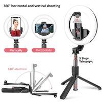 L07Wirlote Bluetooth-Selfie-Stick Faltbares Handheld-Remote-Auslöser-Stativ mit 5-Zoll-LED-Ring-Pografie-Licht für Android iOS-Monopoden