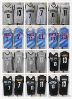 Erkek Teşekkürler Jersey Kyrie Kevin 7 Durant 11 Irving James 13 Sertleştirilmiş Basketbol Şort Basketbol Forması Blzck Donanma Beyaz