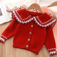 Pullover 2021 Girls Cardigan Sweater Autumn And Fashion Long Sleeve Cotton Top Lace Collar Korean Style Kids Toddler Sweaters