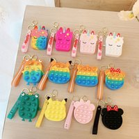 12 Styles Mini Cute Cartoon Bubbles Coin Purse Bag Sensory Toys Silicone Earphone Bags Fidget Push Pop Bubble Puzzle Wallet Toy 71008D