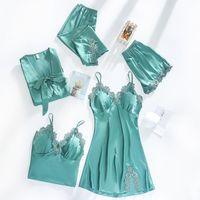 Women Dressing Gown 5Piece Sexy Pajamas Set Lace Sling Shorts Summer Robe Sleepwear Lace Silk Satin Pajamas Set for Women X0526