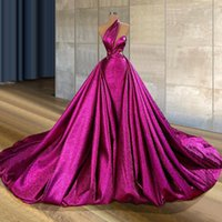 화려한 자홍색 플러스 사이즈 인어 댄스 파티 드레스 탈착식 열차가있는 숄더 오버 스티어 이브닝 가운 파티 드레스 특별한 가운 드 SOIREE