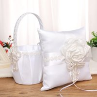 White Wedding Flower Basket Ring Pillow Set with Satin Rose Pearl Bow-knot Bride Girl Baskets H-5714