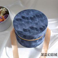جولة المخملية قبعة مربع قبعة مع bowknot وغطاء علب الهدايا الفاخرة روز باقة الترتيب هدية مفاجأة مربع بستوري diy 2195 v2
