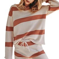 Women's Tracksuits Autumn Winter 2021 Fashion Knitted Striped Two Piece Set Women Casual O-Neck Long Sleeve Top Shorts Drawstring Clothing