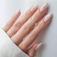 False Nails Fake Short Paragraph Flame Wearing Nail Stickers Finished 24 With Glue CIN6 899