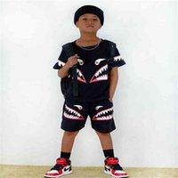 Sommer Boy's Cartoon Gedruckt Trainingsanzug Rundhals T-Shirt + Kurzarm Zweiteiliger Kleidung Anzug Kinder Sport Sportlässig Outfits G50EJPE