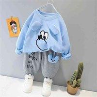 Hylkidhuose Bahar Sonbahar Bebek Erkek Kız Giyim Setleri Rahat T Gömlek Pantolon Yürüyor Bebek Giysileri Çocuk Çocuklar Tatil Kıyafet 210806