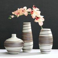 Einfache Retro-weiße braune keramische Vase des chinesischen Stils für Wohnzimmerstudie Schlafzimmer Desktop-Blumencontainer Home Dekorative Vasen
