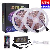 16.4FT 32.8FT LED Strips RGB 5050 Strip Lights 5m 10m 30leds / m con 44 telecomando per tasti adatto per la camera da letto della casa KTV all'aperto ect