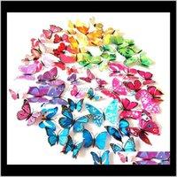 도매 15 색 12pcsset 3D 나비 인공 나비 장식 PVC 이동식 벽 스티커 스톡 vwlpo ywdhe