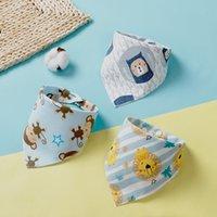 Baberos de algodón bebé alimentación delantal delantal triángulo lindo baberos baberos niñas niños dibujos animados alimentación billar babero babero babado buque boil 1127 y2
