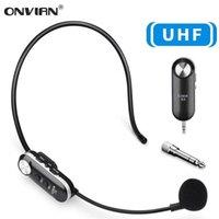 Headse de microphone sans fil ONVIAN 50M UHF Système Mic pour amplificateur vocal Haut-parleurs Enseignant Tour Guides 210610