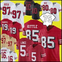 "85 George Kittle Jersey 97 Nick Bosa Trey Lance San ""Francisco"" 49ers ""Jerseys de futebol Jimmy Garoppolo Deebo Samuel Fred Warner Brandon Aiyuk Jerry Rice"