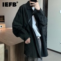 Men's Casual Shirts IEFB 2021 Autumn Stripe Black Long Sleeve Shirt Simple All-match Loose Trend Boyfriends Handsome Tops Ins 9D0229