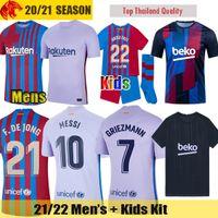 21 22 FC Barcelona Fußballtrikots GRIEZMANN 2021 2022 MESSI MEMPHIS Barca F.DE JONG KUN AGUERO BRAITHWAITE COUTINHO Herrentrikot Kindertrikot