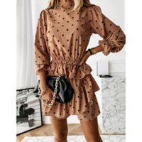 Casual Dresses Fall Summer Women Party Ruffle High Collar Polka Dot Print Mini Dress Fashion Slim Vestido Vintage Clothing S-3XL