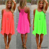 New Fashion Sexy Casual es Women Summer Sleeveless Evening Party Beach Short Chiffon Mini Dress BOHO Womens Clothing Apparel