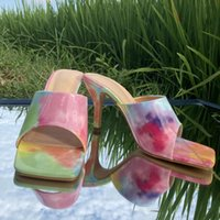 Sandals Women Slippers Leopard Rainbow Color Lovely Bow-tie Open Round Toe Flats Beach Slides Shoes Sandal 2021 Summer
