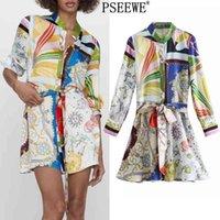 Pseewe весеннее платье za print мини рубашка платье женщины старинные пояс с длинным рукавом короткие платья женщина кнопка повседневные платья 210324