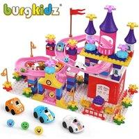 Burgkidz Мой первый замок Строительные блоки Совместимые Big Blocks Мраморный запуск Детские блоки Рисунки автомобили Track Toys для мальчиков для девочек 210330