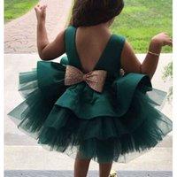 2021 Bebek Bebek Kız Elbiseler Kız Balo Tutu Prenses Elbise Pullu Yay Bebek Kız Elbise 1st Doğum Günü Düğün Parti Elbise Q0716