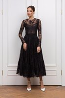 Black Lace Prom Dresses Jewel Neck Long Sleeves Mother of the Bride Party Vestidos Tea Length A Line Formal Evening Women Wear