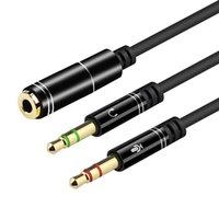 Hörlurar splitter mikrobel för dator headset 3,5 mm kvinnlig till 2 dubbla manliga mikrofon ljud stereo uttag hörlurar portspel högtalare PC adapter
