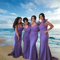 2022 Mermaid Bridesmaid Dress Long Dresses African Purple One Shoulder Satin Sweep Train Wedding Guest Maid Of Honor With Bow