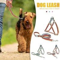 Collares de perro correa reflexivo reflexivo poliéster de algodón longitud ajustable correa de correa de correa de correa adecuada para todo tipo de d