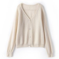 V Neck Cashmere Cardigan Women 100% pure cashmere sweater thin with 2021 new short spring and autumn knit jacket