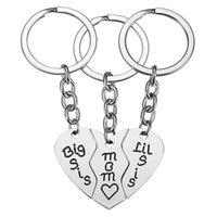 3-piece anahtar, yüzük, halka paslanmaz çelik kolye kadın anneler günü hediyesi büyük lil SIS Mother-şekilli anahtarlık aile basit takı moda dikiş aşk gümüş