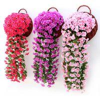 Fleurs décoratives Couronnes Violet Violet Mur Artificial Suspension Décor Panier Fleur Orchidée Soie Vigne Accueil Mariage Partie de mariage Décorations d'automne