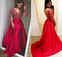 Long Sleeve Mermaid Evening Formal Dresses with Overskirt 2021 Sexy V-neck Lace Stain Backless Dubai Arabic Occasion Prom Gown Plus Size