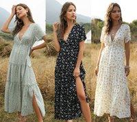 Donne Bohemian Dress Casual Flutter Sleeve Summer Stampa floreale Flora Fashion Split Abiti Lunghi V Abbigliamento con scollo a V