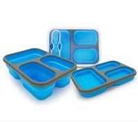 Dinnerware Sets 1PC 3 Grid 1100ml Silicone Collapsible Portable Lunch Box Large Capacity Bowl Bento Folding Lunchbox Eco-Friendly