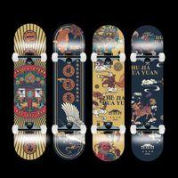 80 * 20cm Profissão estilo chinês 4 rolos skateboard cor padrão duplo rocker longboard skate infinito penebord kaykay skates