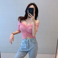 Fashion Woman T-shirt Sexy Strapless Summer Korean Version Of Solid Color Folds V-neck Slim Top Women's