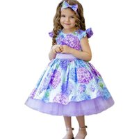 Girls Dresses Children Clothing Kids Clothes Flower Print Holiday Christmas Bow Headbands Birthday Party Lace Pettiskirt B8525