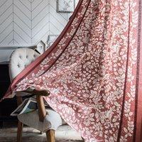 Beautiful Fleurs Feuille Rideau demi-ombrage Rideaux de lin de coton pour chambre à coucher Salon Cuisine