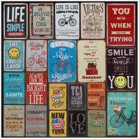 NewVintage Metal Retro Stickers Tintin Plaque Tin Signes Love Sourire Vie Happy Sign Affiche Plaque Peinture Plaque de mur de mur EWD6217