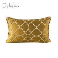 Корпус подушки Дифолляя золотые корпусы роскошный американский шелковый геометрия жаккарда простой современный диван гостиная подушка подушки 50x30см