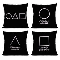 Squid Game Pillow Case Cushion 45cm 20 Styles Pillows Anti-Stress New Halloween Christmas Gifts Decoration Triangle Square Round Soldier Cushions
