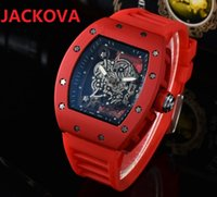High Quality Mens Ghost Head Skeleton Watches 43MM carbon fiber three needle series rubber silicone waterproof sapphire glass Quartz Movement hollow wristwatch